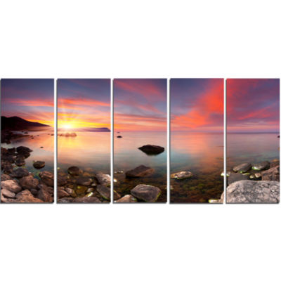 Design Art Colorful Summer Seascape Canvas Art Print - 5 Panels