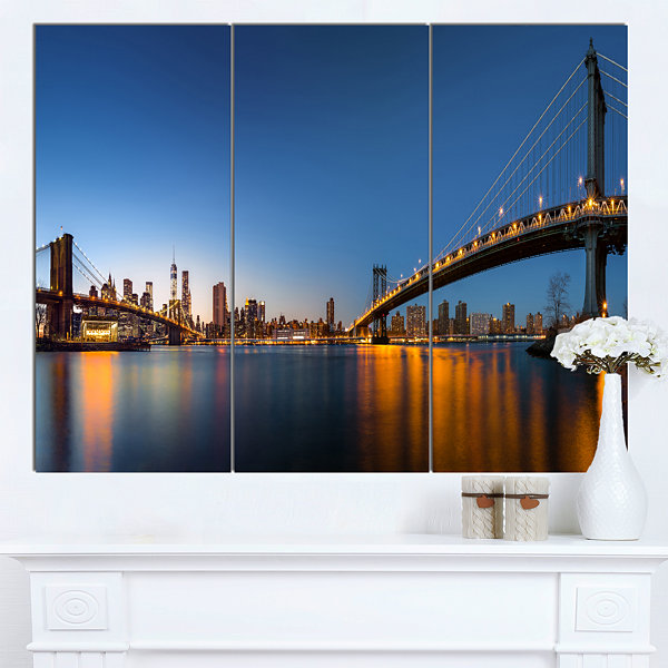 Designart New York City Dusk Panorama Canvas ArtPrint - 3 Panels