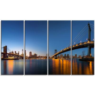 Designart New York City Dusk Panorama Canvas Art Print - 4 Panels