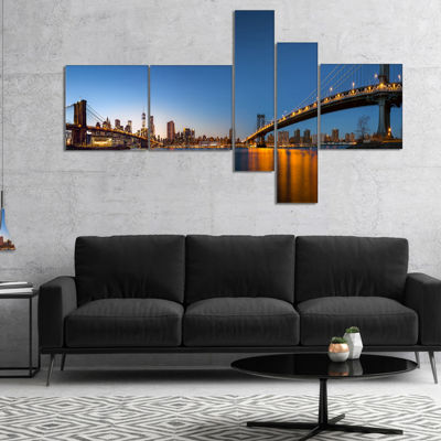Designart New York City Dusk Panorama Canvas Art Print - 5 Panels