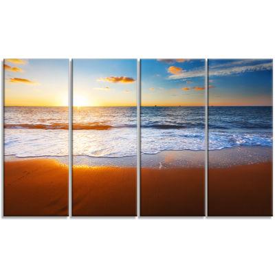 Designart Blue Sea And Sky With Sandy Beach Seashore Canvas Art Print - 4 Panels