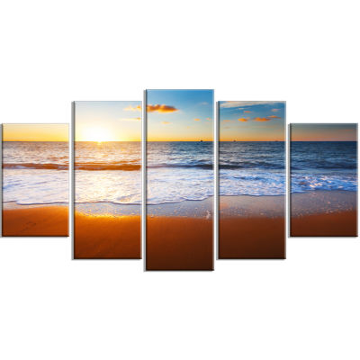 Design Art Blue Sea And Sky With Sandy Beach Seashore Canvas Art Print - 5 Panels