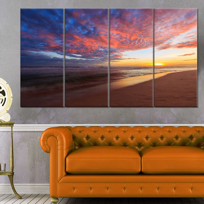 Designart Colored Clouds In Beach At Sunset Seashore Canvas Art Print - 4 Panels