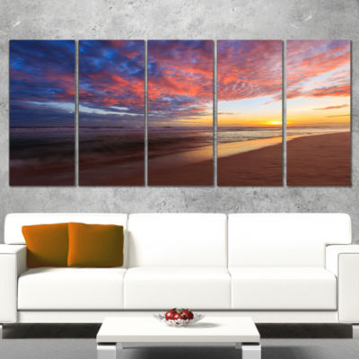 Design Art Colored Clouds In Beach At Sunset Seashore Canvas Art Print - 5 Panels