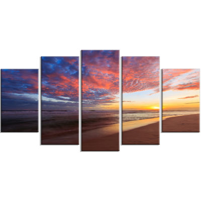 Designart Colored Clouds In Beach At Sunset Seashore Canvas Art Print - 5 Panels