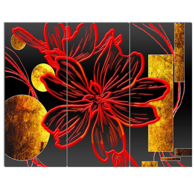 Designart Abstract Red Flower Painting Canvas ArtPrint - 3 Panels