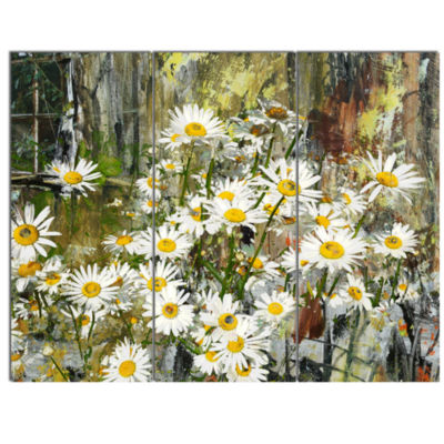 Design Art Daisies Flowers Under The Window Art Canvas Print - 3 Panels
