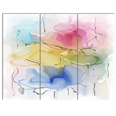 Design Art Abstract Floral Illustration Design Canvas Wall Art - 3 Panels