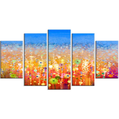 Designart Abstract Flower Field Watercolor (373) Painting Canvas Art Print - 5 Panels