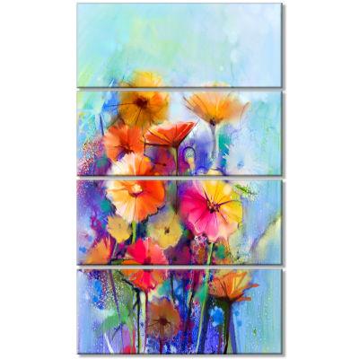 Designart Abstract Floral Watercolor Painting Canvas Art Print - 4 Panels