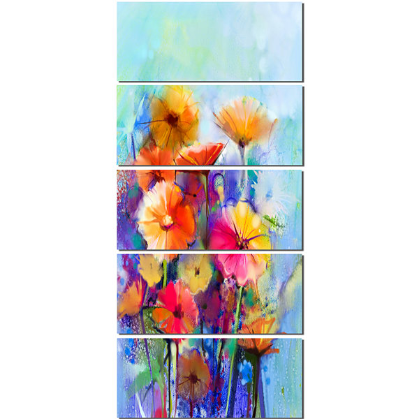 Designart Abstract Floral Watercolor Painting Canvas Art Print - 5 Panels