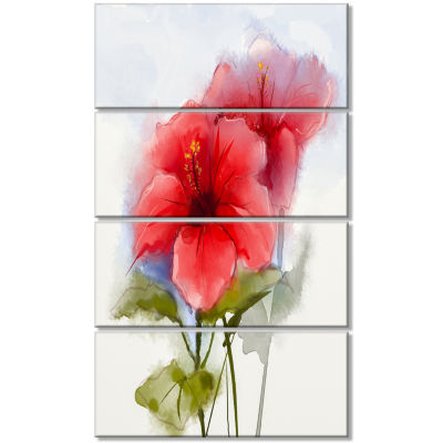 Designart Watercolor Painting Red Hibiscus FlowerCanvas Art Print - 4 Panels