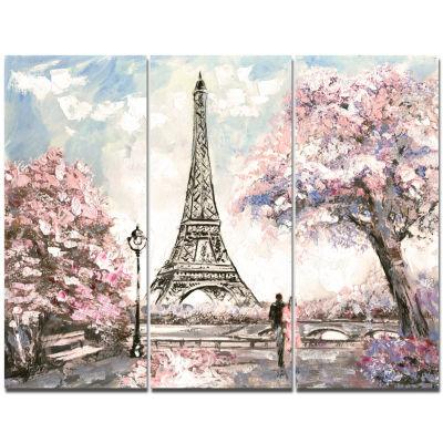Designart Eiffel With Pink Flowers Landscape Canvas Art Print - 3 Panels