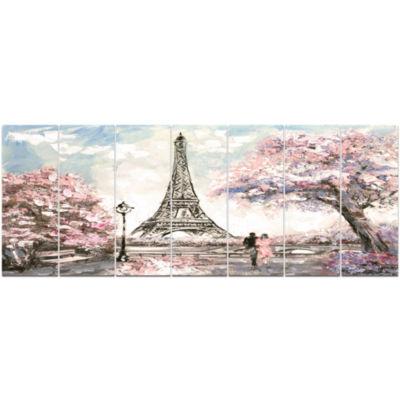 Design Art Eiffel With Pink Flowers Landscape Canvas Art Print - 7 Panels