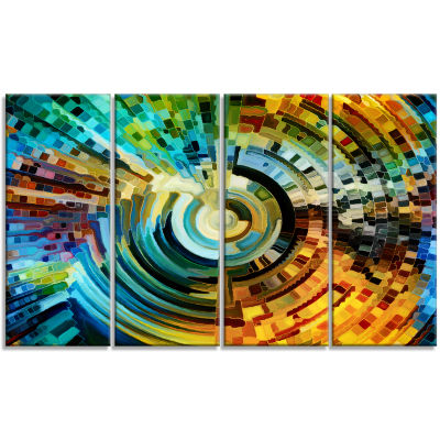 Designart Paths Of Stained Glass Abstract CanvasArtwork - 4 Panels