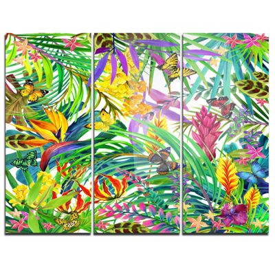 Designart Tropical Leaves And Flowers Art CanvasPrint - 3 Panels