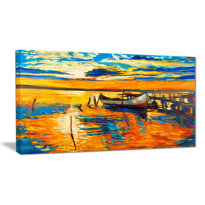 Designart Boat And Jetty At Sunset Landscape Art Print Canvas