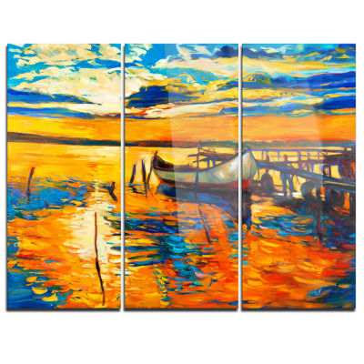 Designart Boat And Jetty At Sunset Landscape Art Print Canvas - 3 Panels