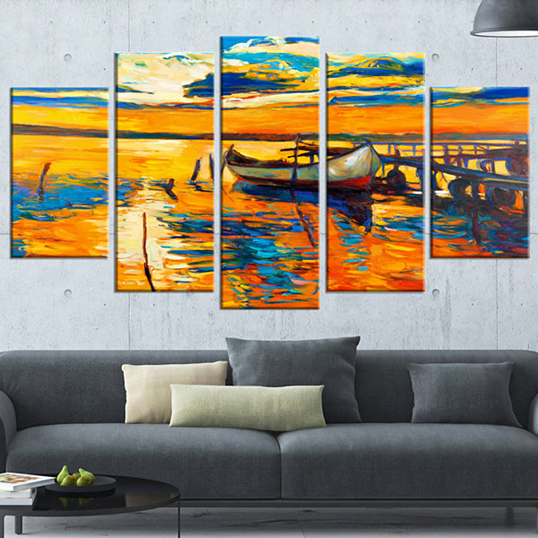Designart Boat And Jetty At Sunset Landscape Art Print Canvas - 5 Panels