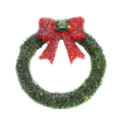 """16"""" Lighted Tinsel Green Wreath with Bow Christmas Window Decoration"""""""