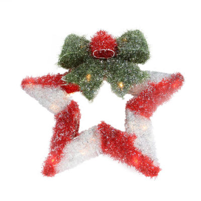 "16"" Lighted Tinsel Red & White Star Wreath with Bow Christmas Window Decoration"""