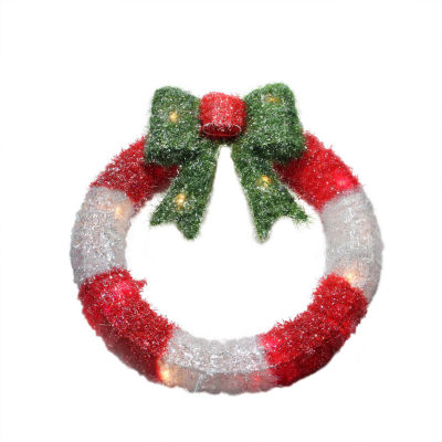"""16"""" Lighted Tinsel Red and White Wreath with Bow Christmas Window Decoration"""""""