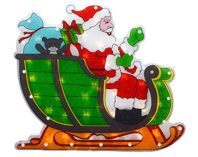 "17"" Lighted Double-Sided Shimmering Santa in Sleigh Christmas Window Silhouette"""
