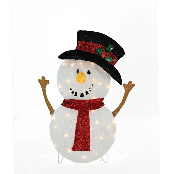 "24"" Candy Cane Lane Lighted Smiling Snowman Christmas Yard Art Decoration"""