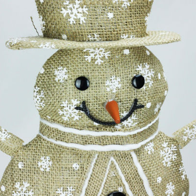 "24"" Lighted Natural Snowflake Burlap Standing Snowman Christmas Yard Art Decoration"""