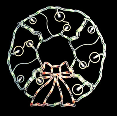 "31.5"" Folding Lighted Twinkling Wreath Christmas Window Decoration - Multi Lights"""