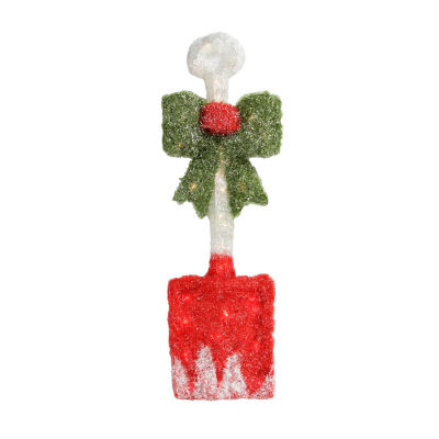 "32"" Lighted Tinsel Snow Shovel with Bow Christmas Window Decoration"""