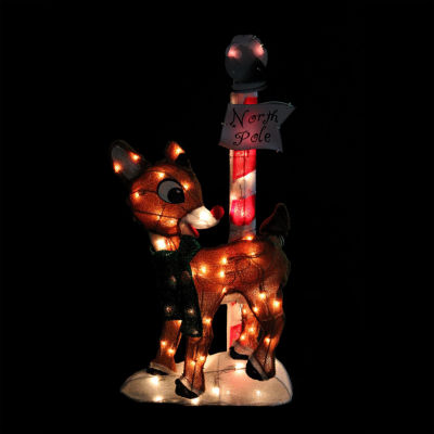 "32"" Pre-Lit 2-D Rudolph the Red-Nosed Reindeer North Pole Christmas Yard Art Decoration"""