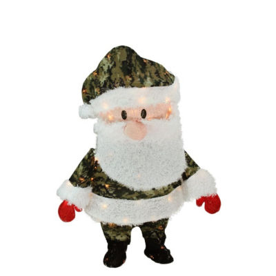 "32"" Pre-Lit Candy Cane Lane Camo Santa Claus Christmas Yard Art Decoration - Clear Lights"""
