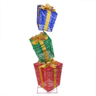 3-Piece Glistening Prismatic Gift Box LED Lighted Christmas Yard Art Decoration Set
