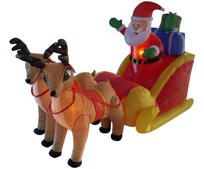4' Inflatable Santa  Sleigh & Reindeer Lighted Christmas Yard Art Decor