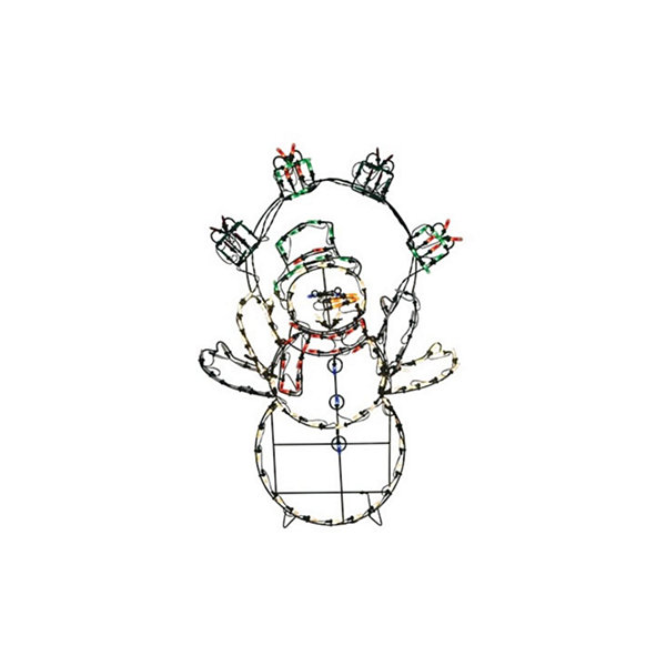 "42"" Pre-Lit Multi-Color LED Animotion Snowman with Gifts Christmas Yard Art Decoration"""