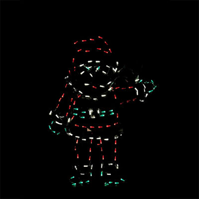 "42"" Pre-Lit Red  White and Green LED Animotion Waving Santa Christmas Yard Art Decoration"""