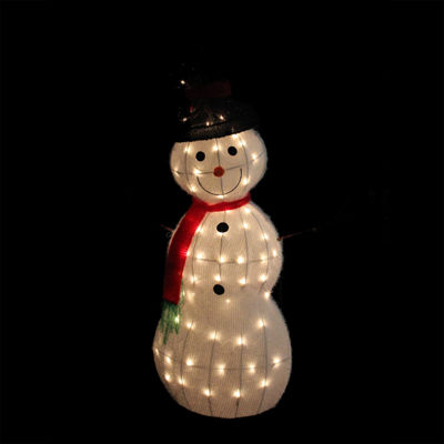"48"" Lighted 3-D Tinsel Snowman with Top Hat Christmas Yard Art Decoration"""