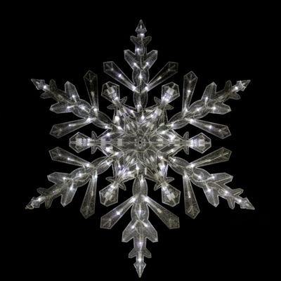 "48"" Twinkling Cool White LED Lighted Translucent Snowflake Christmas Yard Art"""