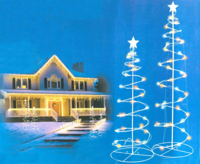 Set of 2 Multi-Color LED Lighted Outdoor Spiral Christmas Trees Yard Art 3'  4'