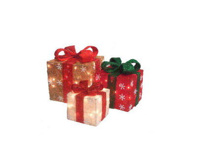 Set of 3 Lighted Gold  Green and Cream Gift Boxes Christmas Yard Art Decorations