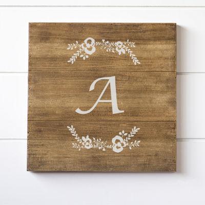 Cathy's Concepts Personalized Floral Single Initial Wood Sign
