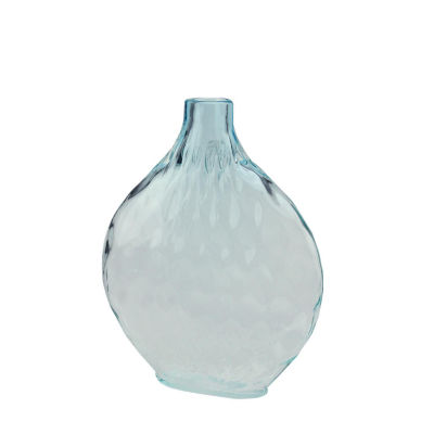 "11.5"" Disc Shaped Transparent Ombre Hand Blown Glass Vase"""