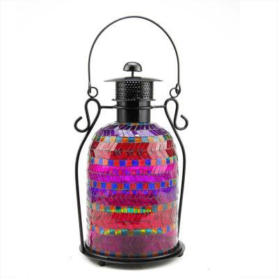 "13"" Decorative Multicolor Mosaic Glass Tea Light Candle Holder Lantern"""