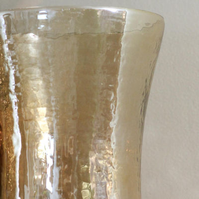 "15.5"" Decorative Golden Luster Hurricane Pillar Candle Holder"""