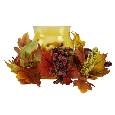 "17"" Autumn Harvest Apple and Berry Hurricane Glass Pillar Candle Holder"""