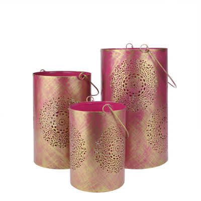 Set of 3 Decorative Floral Cut-Out Pillar Candle Lanterns 10""