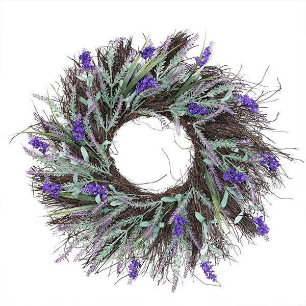 "22"" Blooming Purple Artificial Lavender and Heather on a Spiral Vine Wreath"""