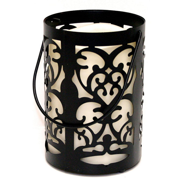 "7"" Black Metal Flourish Lantern with Bisque LED Lighted Flameless Indoor/Outdoor Pillar Candle"""