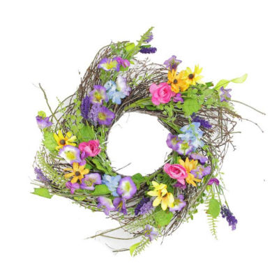 "24"" Decorative Multicolored Wild Flower Artificial Spring Floral Wreath"""